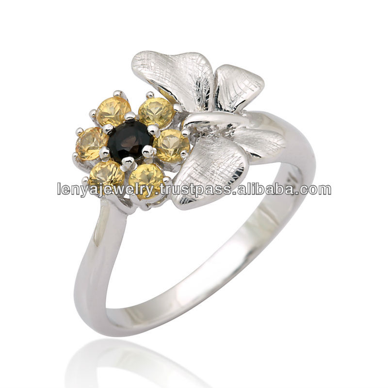 Rhodium Plated Silver with Smoky Quartz and Yellow sapphire