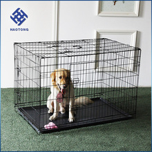 Two door design folding steel dog cages,dog crate,dog kennel with plastic tray