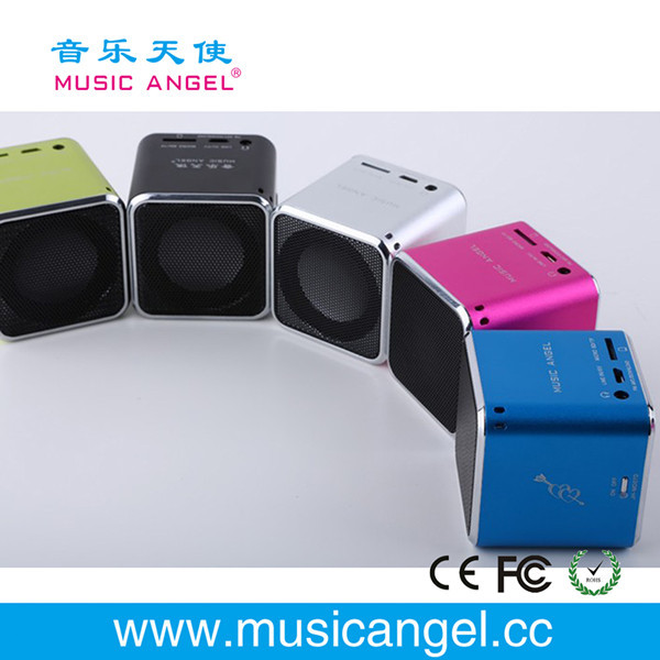 Music Angel JH-MD06 TF card cube bass peaker portable digital speaker download free mp3 songs