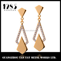 Fancy Gold Plated Jewelry Earring Crystal Pear Shape Earring With Crystal