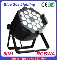 new 18pcs 15w RGBWA 5in1 par led stage light DMX 4/5/6/7/8/9CH indoor light