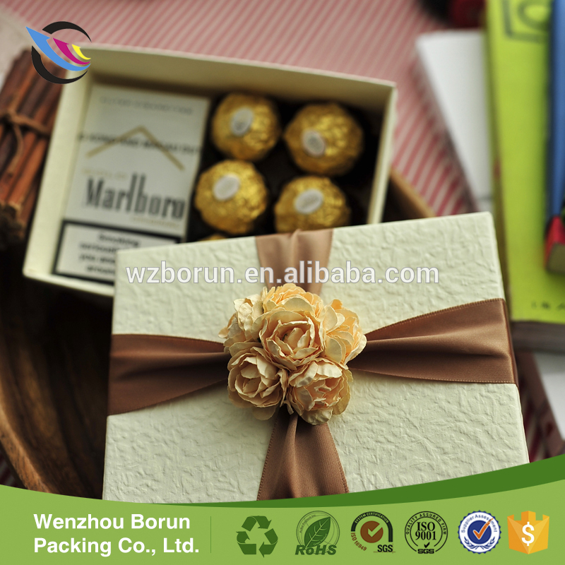 2017 Hot selling fine chocolate boxes packaging,chocolate box for wedding invitation
