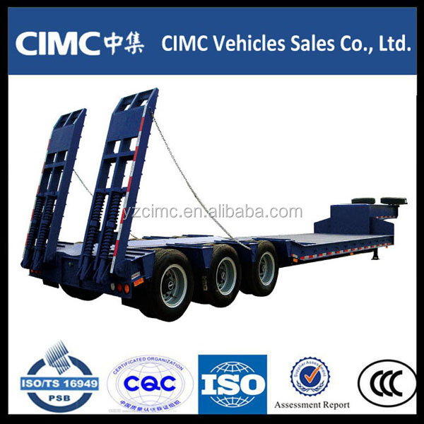 3 axles heavy duty extendable low bed truck semi trailer for 80Tons Capacity