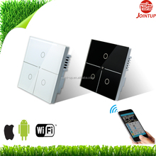 3 Gangs 1 Way Time Scheduled Remote Controlled UK WiFi Touch <strong>Switch</strong> in tempered glass, 500W Resitive load,200W inductive load