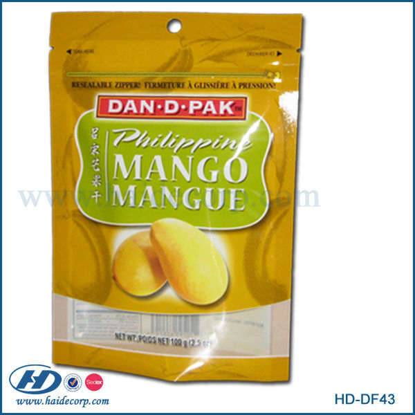 stand up resealable food packaging bag for dried mango /dried fruit bag with gravure printing