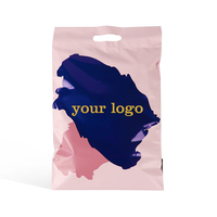 custom logo luxury pink rose gold poly mailer envelope with handle plastic shipping mailing post package bag for clothing
