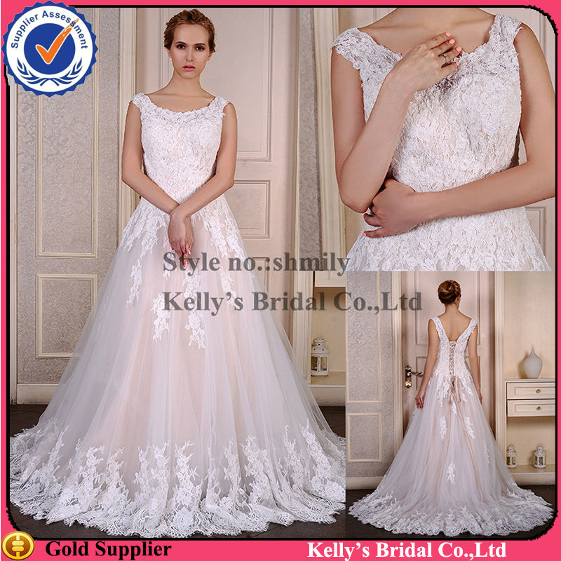 Ivory Tulle And Lace And Champagne Color Two Color Wedding Dress