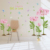 2016 New romantic pink flower loving valentine wall stickers for wedding room decoration 3d wall decor wallpaper