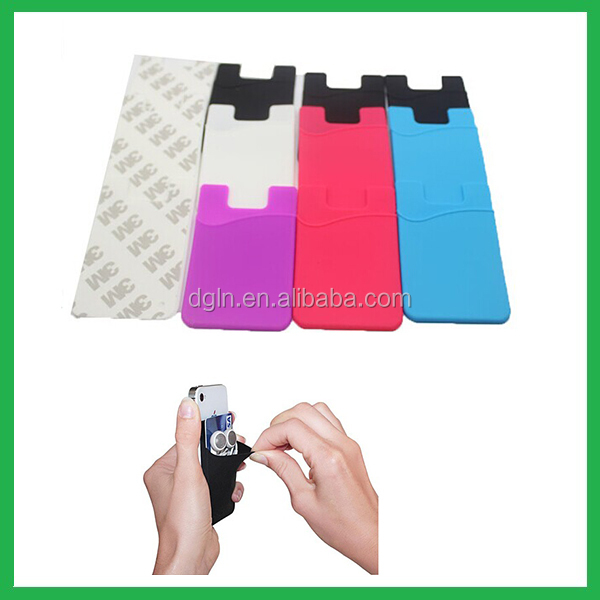 2014 popular 3M adhesive Sticks silicone smart wallet for mobile phones, glow in the dark silicone cell phone case