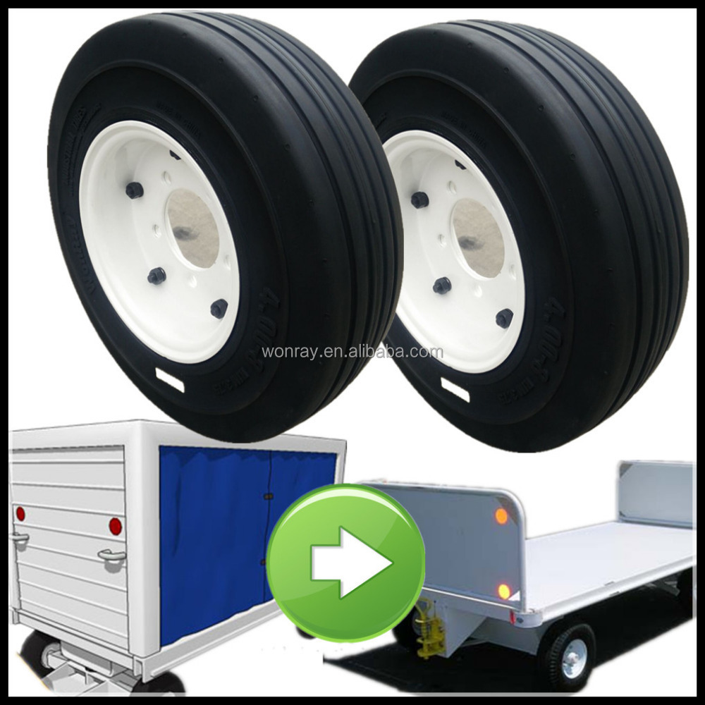 China good price GSE 400-8 3.75 SOLID tires, airport luggage trolley parts with quality warranty