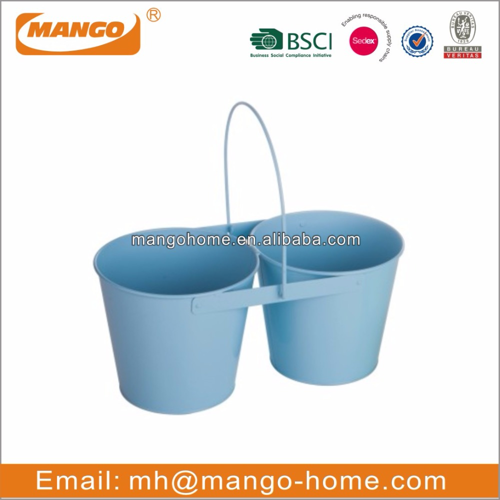 Wire Handle Colorful Powder Coating Metal Flower Double Nursery Pots
