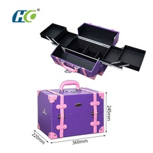 Custom women travel makeup suitcase bag vanity box <strong>brush</strong> set cosmetic beauty makeup case