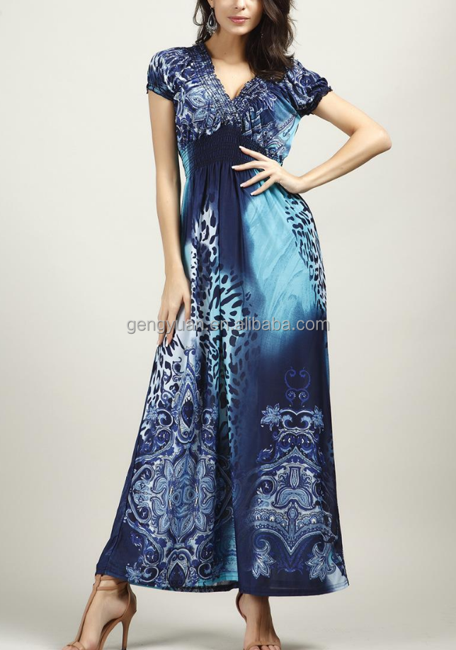 Ladies fashion custom sublimated maxi dress