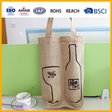 Custom printed double bottle jute gift tote bag jute wine bag jute gift bag