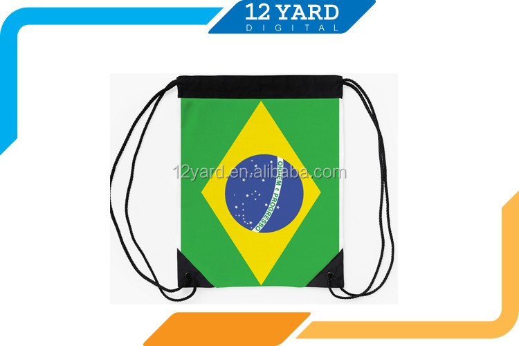 Promotional high quality Countries flags 3D printed drawstring backpack men and women canvas travel backpack