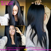 2016 hot sale yaki straight virgin brazilian human hair yaki u part wig