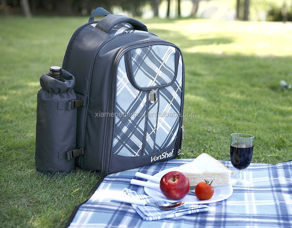 VonShef - 4 Person Blue Tartan Picnic Backpack With Cooler Compartment, Detachable Bottle/Wine Holder, Fleece Blanket, Flatware