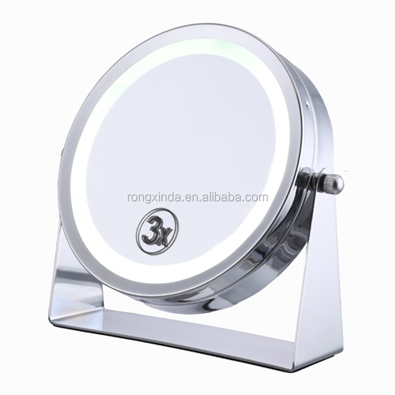 wholesale fashion design foldable free standing metal shaving mirror with light for home