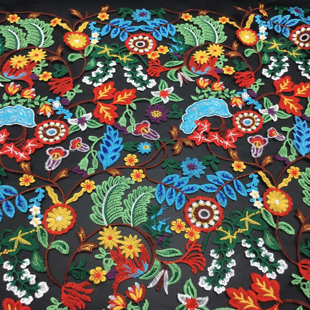 OLF0163 new flower multi color embroidered color guipure lace fabric for clothing