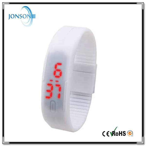 stylish custom made silicone led watch waterproof with red light flashing