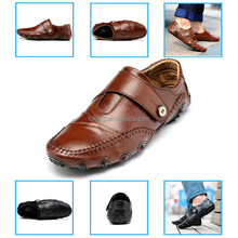 New Style Mens Leather Loafer Moccasins Driving Shoes hook-and-loop Slip Ons Boat Shoes