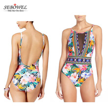 Hot Design Floral Printed Women High Cut One Piece Swimsuit