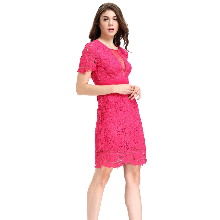 Fashion Lace Patchwork Short Frock Lady Image Skater Dress