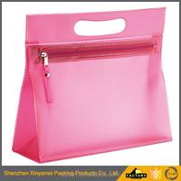 pink pvc cosmetic bag/Custom size clear plastic vinyl pvc hair extension bag with snap button/ Clear pvc zipper bag
