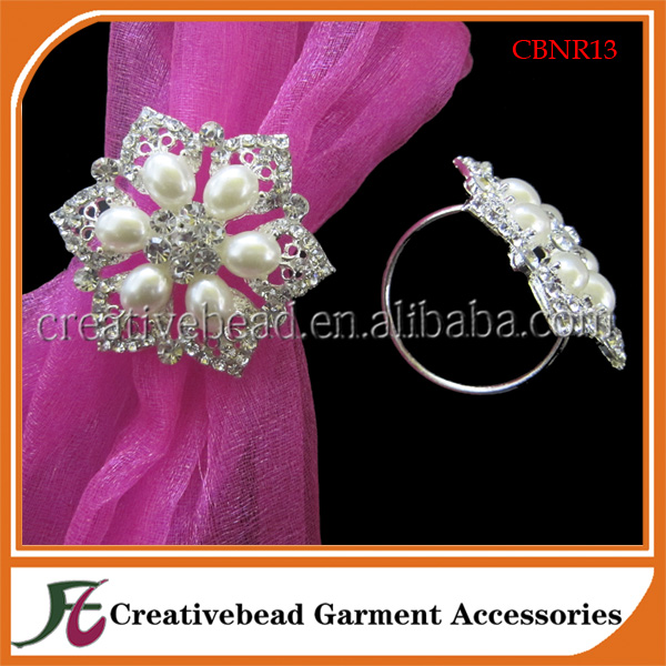 diamante and pearl napkin rings for weddings custom made and wholesale
