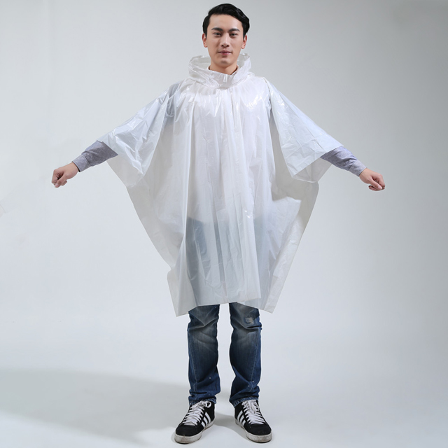 Promotional PE Disposable biodegradable extra large rain ponchos with logo for Riding and Walking