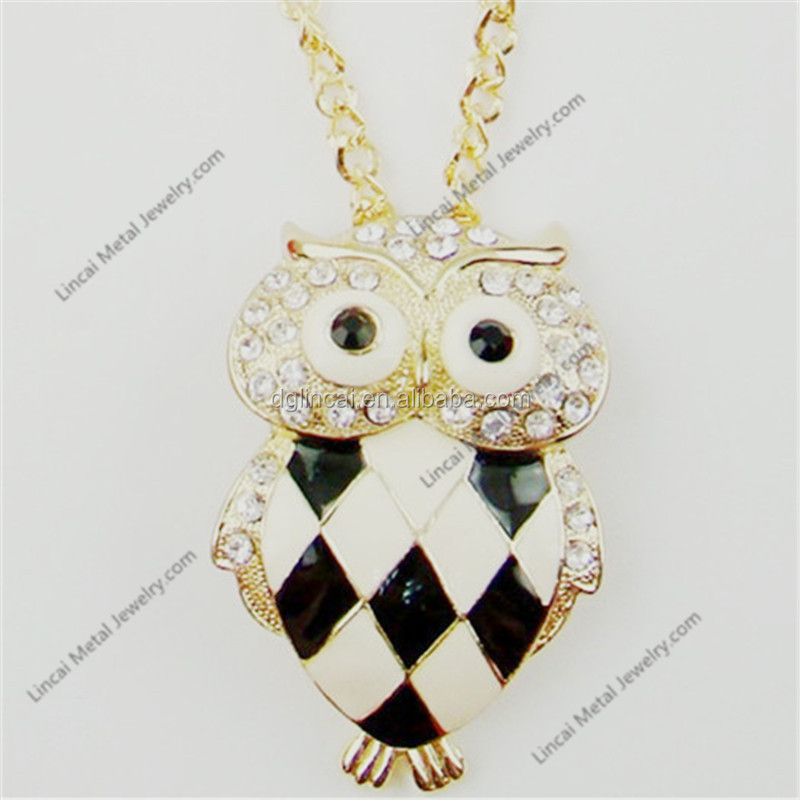 Alloy metal enamel color crystal gold color owl pendant necklace