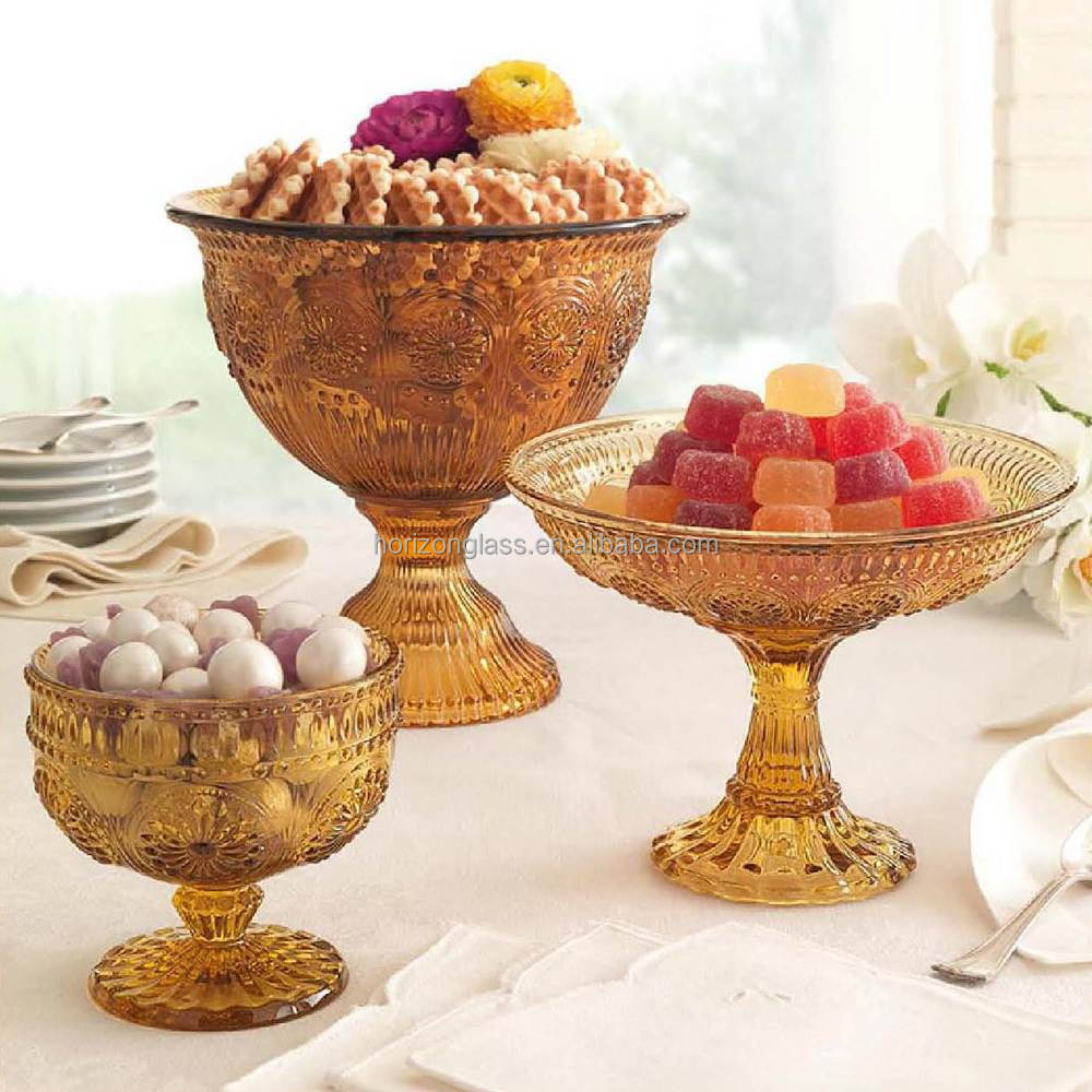 High quality sunflower cup cake dessert glass stands buy for Colored glass cake stand