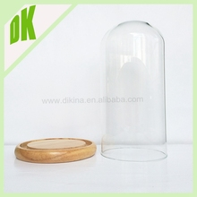 Mini glass dome - Glass dome with base - Personalized Cake dome wooden glass display cabinet