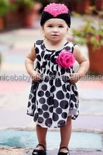 hat sale OEM red flower black dot baby girl dress cotton clothes set