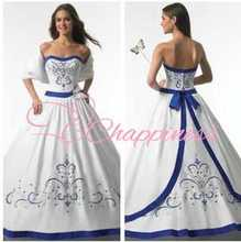 2013 design royal blue wedding dress