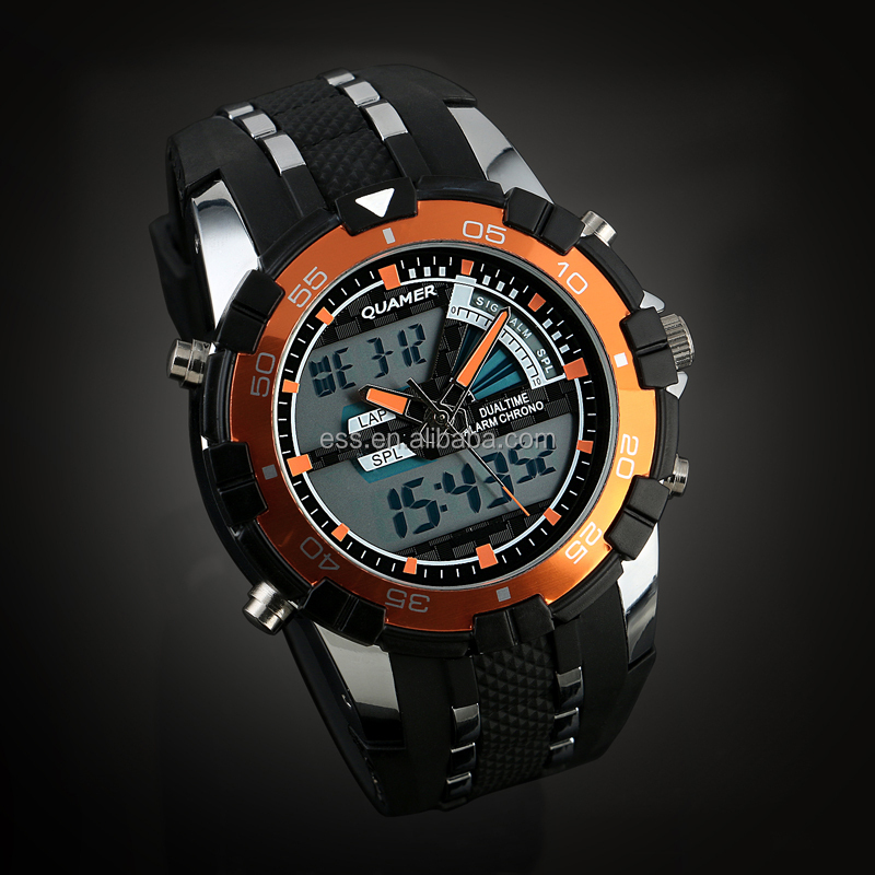 Brand New Mens Rubber Strap Analog Digital Dual Dial Quamer Sport Watch Price