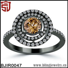 Fashion Black Plated Brown & White CZ Round Indian Engagement Ring