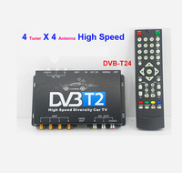 HDTV With Mobile Antenna DVB-T24 4 Tuner 4 Antenna USB HDTV Car DVB-T2 TV Receiver For Russia