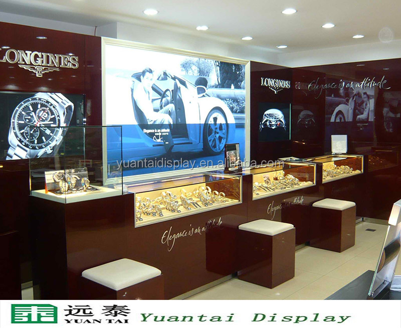 luxury modern wall mounted watch display case and showcase for retail shop decoration
