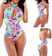 Floral Printed Hollow Out Exotic Hot Sex Hot Sex Grils Photos One Piece Women Swimsuit