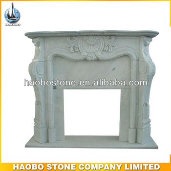 Limestone White Marble Fireplace