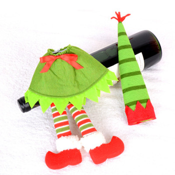 The New Santa Claus Beautifully Decorated Elf Dress Red And Green Wine Bottle Set