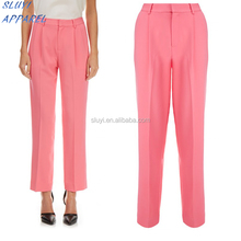 Formal/office wear slimming model womens baggy trousers design pocket design trousers OEM cords trousers cutting