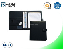 china portfolio factory manufacture a4 leather folder with metal ring binder and inside pocket