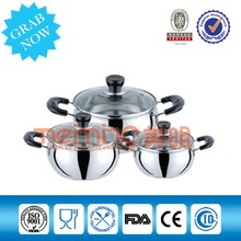 6Pcs Stainless Steel Belly Shape Cookware Sets/Cooking Pots for American Market