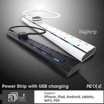 CE,ROHS certification UK extention socket power led strip 6 gang outlet with 4 usb charge port
