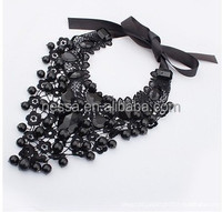 Black handmade lace collar necklace with acrylic beads