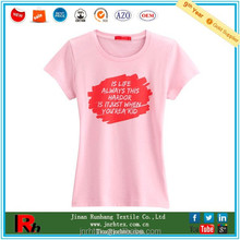 Low price 100% cotton women stock tshirt with printing