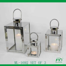 Set of 3 classic all season stainless steel lantern with glass panels