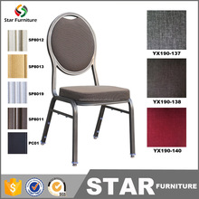 Quality hotel banquet hall furniture used metal frame stackable banquet chairs
